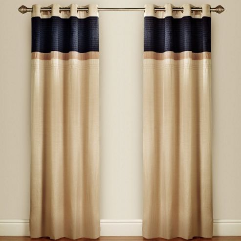 Pin Tuck Lined Curtains with Eyelet Heading in Pewter - 116cm Width x 137cm Drop