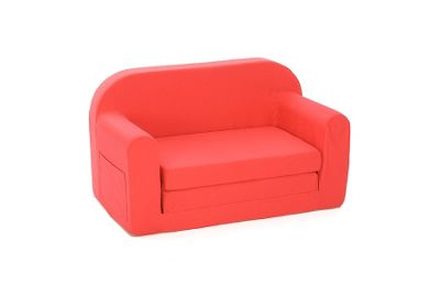 Comfy Living Childrens Fold Out Sofa Bed Curved Back in Red
