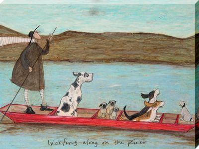 Sam Toft Woofing along on the River Large Canvas Print 60x80cm