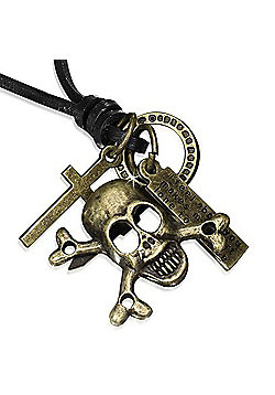 Urban Male Adjustable Brown Leather Necklace with Skull & Crossbones Pendant