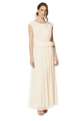 Vila Peplum Maxi Bridesmaid Dress Peach M
