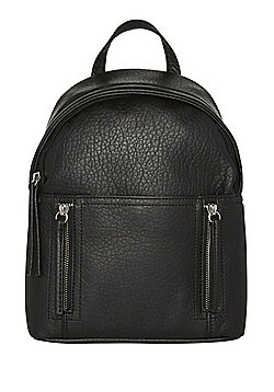 F&F Grained Faux Leather Backpack Black One Size