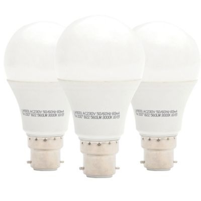 Liteway LW9003/3PACK 10 W BC B22 GLS LED Bulb, 80-100 W Traditional Replacement, 806 Lumens - Warm White, Pack of 3 [Energy Class A+]