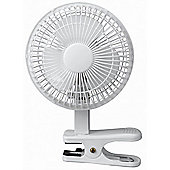 "White 6"" Inch Clip on Cooling Desk Fan"