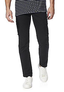 F&F Belted Slim Fit Cargo Trousers - Navy