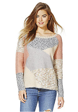 Vila Vipatcha Patchwork Style Jumper - Peach