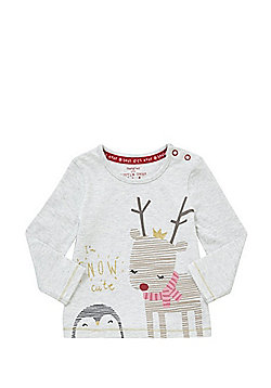 F&F I'm Snow Cute Slogan Long Sleeve Christmas T-Shirt - Grey