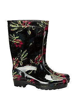 Mountain Warehouse Splash Floral Womens Wellies - Black
