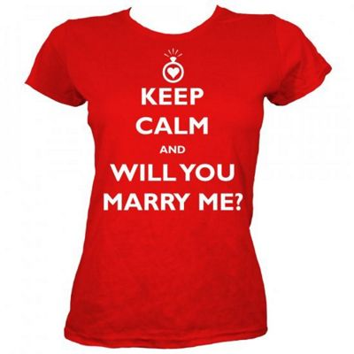Keep Calm and Will You Marry Me? Red Women's T-shirt