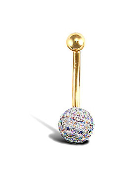 Jewelco London 9ct Yellow Gold Belly Bar with crystal-set end bead - AB Multi colour