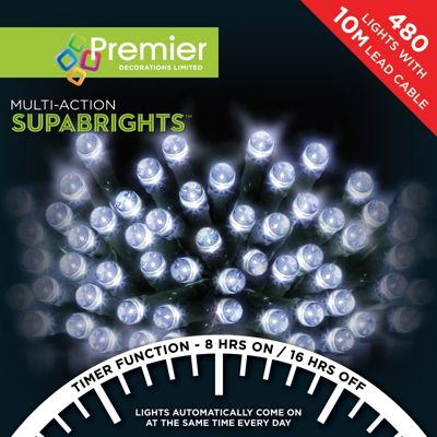 Premier 480 Multi Action Supabrights LED Lights with Timer - White