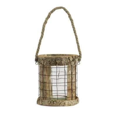 Attractive Rustic Birch Wood Elisa Hanging Candle Lantern