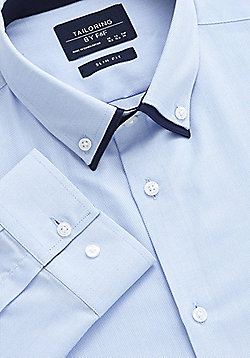 F&F Textured Double Collar Easy Care Slim Fit Shirt - Blue