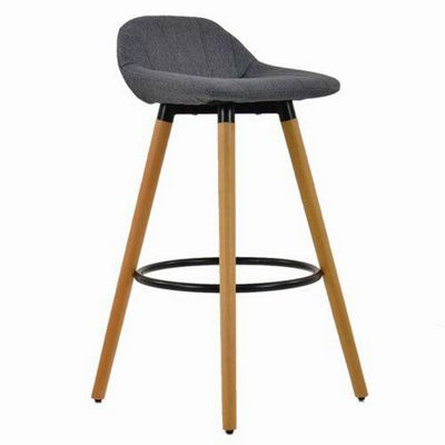 Kennedy Wooden Bar Stool Charcoal Fabric