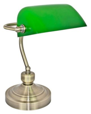 Traditionally Designed Antique Br Bankers Desk Lamp With Green Gl Shade