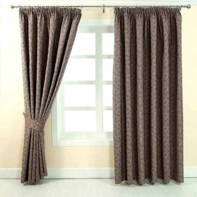 Homescapes Purple Jacquard Curtain Vintage Floral Design Fully Lined - 66