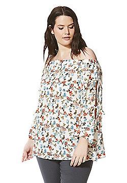 Lovedrobe Ditsy Bardot Plus Size Top - Multi