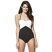 F&F Luxury Swimwear Tall Halterneck Bandeau Swimsuit - Black & White