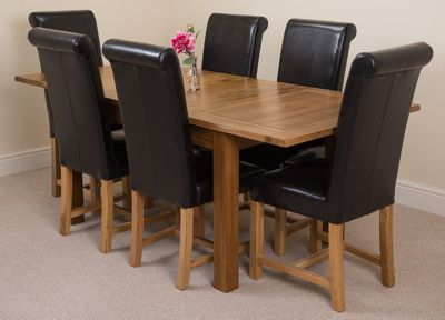 Cotswold Rustic Solid Oak Extending 132 - 198 cm Dining Table with 6 Black Washington Leather Chairs