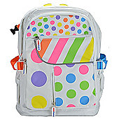 Kiddimoto Large Childs Backpack Pastel Dotty with padded shoulder straps