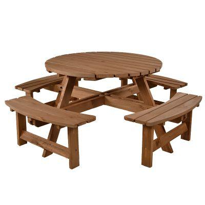 BrackenStyle York Round Picnic Table - Seats 8