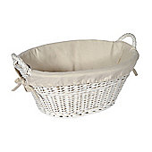 White Painted Willow Oval Laundry Basket