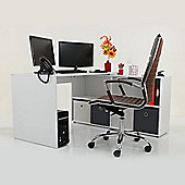 Kanta Corner / Multi Position Office Desk White \ Grey Drawers