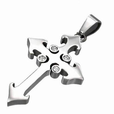 Urban Male Men's Stainless Steel CZ Set Cross Pendant