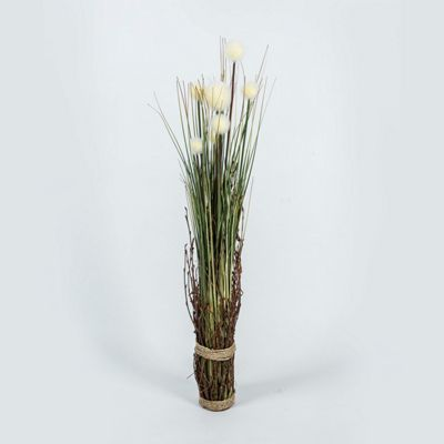 Homescapes Grass Plant with White Buds Wrapped in Twine