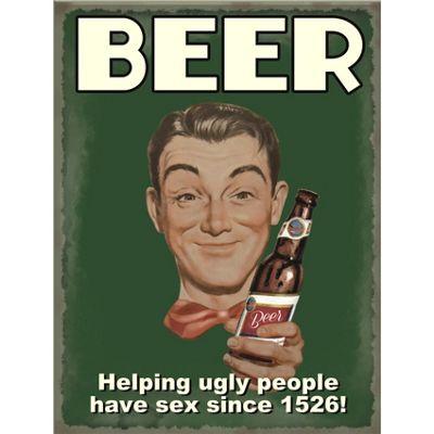 Beer - Helping Ugly People Mini Metal Sign - 15x20cm