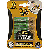 4 x JCB AA 2400mAh Rechargeable Batteries HR6 Charged And Ready To Use