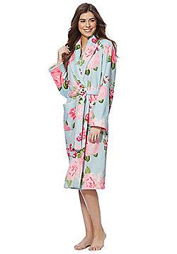 F&F Floral Print Stitch Detail Dressing Gown - Blue & Pink