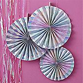 Iridescent Party Paper Fan Decorations - 38cm
