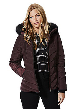 F&F Faux Fur Trim Shower Resistant Padded Jacket - Burgundy