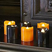 Set of 6 Black & Orange Halloween Battery LED Tea Light Candles