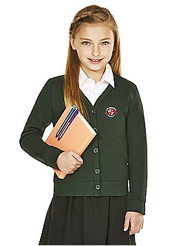 Girls Embroidered Cotton Blend School Sweatshirt Cardigan with As New Technology - Bottle green