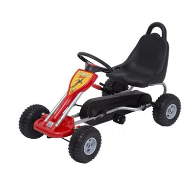 Homcom Kids Ride Pedal Go Kart Pedal Outdoor Toy Racing Adjustable Hand Brake - Red