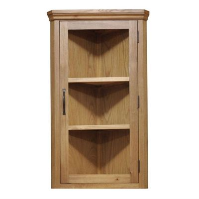 London Light Oak Top Corner Display Cabinet