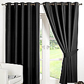 Dreamscene Eyelet Blackout Curtains PAIR of Thermal Ring Top Ready Made Luxury - Black