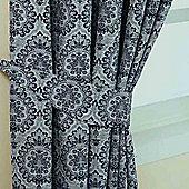 Homescapes Blue Jacquard Tie Back Pair Floral Damask Design