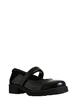 F&F Scuff Resistant Patent Wide Fit School Shoes - Black