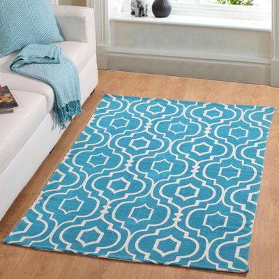 Homescapes Riga Handwoven Teal and White 100% Cotton Printed Patterned Rug, 90 x 150 cm