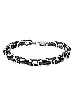 Urban Male 'Milan' Contemporary Black & Silver Stainless Steel Men's Bracelet