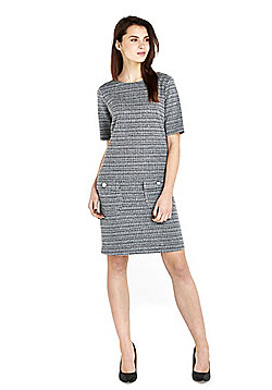 Wallis Textured Shift Dress - Black & White