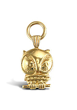 Solid 9ct Gold Wise Night Owl Charm Pendant