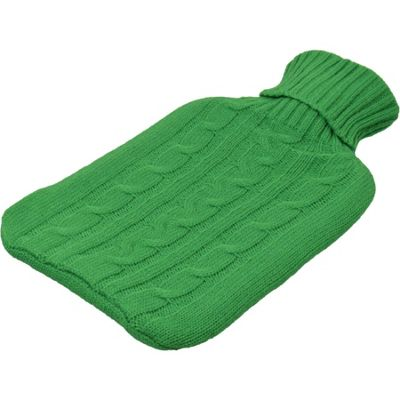 Harbour Housewares Full Size Hot Water Bottle With Knitted Cover - Green