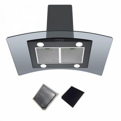 Cookology ILD900BK 90cm Curved Glass Island Cooker Hood 90cm | Ceiling mounted Extractor Fan in Black & Recirculating Filter