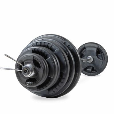 Bodymax 140kg Olympic Rubber Radial Barbell Kit with 7 ft bar and spring collars