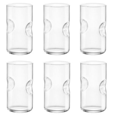 Bormioli Rocco Giove Clear Dimpled Cooler Glasses - 490ml - Pack of 6