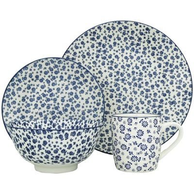 24 Piece Blue Flower Crockery Dinner Set Plates Side Plates Bowls Mugs